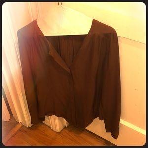 Tops - Babaton Aritzia cognac silk blouse xxs